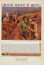 1965 Gold Label PRINT AD Cigars Grouse hunting in Argyll Beautiful Artwork