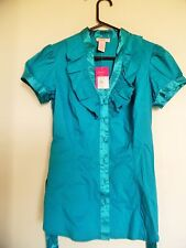 Candies juniors Green Teal ruffled  top Shirt Blouse Sz L