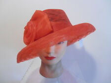 Hat-Silverstone RED Lace-Look Wide Brim Kentucky Derby Society Wedding Scallop