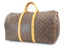 Authentic LOUIS VUITTON Keepall Bandouliere 50 Monogram Canvas Duffel Bag #36689