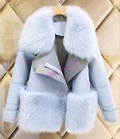 new womens blue fur collar Jacket Coat outwear wool blend trench winter parkas