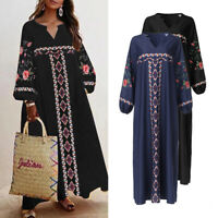 Womens Long Sleeve Floral Ethnic Plain Vintage Dresses Long Dress Loose Baggy