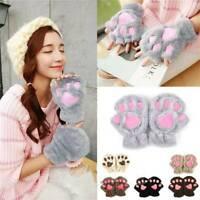 Women's Cute Fingerless Fluffy Bear Cat Paw Gloves Winter Warmer Hand Mittens UK