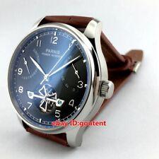 43mm Parnis Fashion Chronometer Power Reserve Movement Black Dial Mens Watch 387