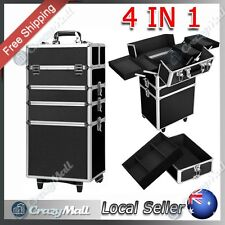 Professional 4 In 1 Portable Beauty Case Makeup Cosmetics Lockable Trolley Black