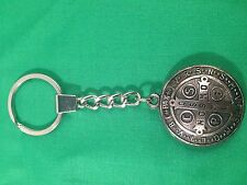 Saint Benedict Key Chain Silver finished