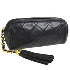 CHANEL Quilted CC Logos Fringe Pouch Black Leather Vintage AK36839e