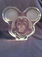 Disney -- clear glass Mickey Mouse head paperweight -- frosted accents