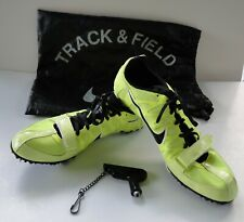 Nike Size 11 Yellow Neon / Green Racing Running Sprint Shoes Spikes Key Bag