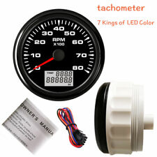 85mm Tachometer 8000rpm For Diesel Engine Tacho 7 Colors Led Stainless Usa Stock