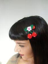 Pince clip cheveux cerises rouges cherries crochet original pin-up rétro