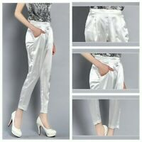 Women Lady Faux Silk Satin Pants Harem Tapered Ninth Trousers Formal Work Casual