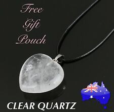 Clear Quartz Crystal Natural Stone Love Heart Pendant Leather Necklace Gift New