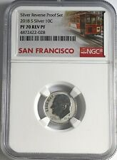 2018 S NGC PF70 SILVER REVERSE PROOF DIME RD TROLLEY LABEL 10c