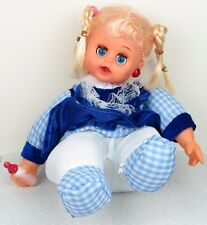 """Laughing Sitting Girl Baby Doll in Blue Dress Plush Plastic - Batteries 8""""H New"""