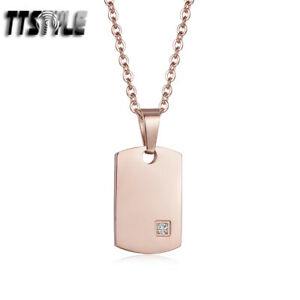 TTstyle 9K Rose Gold 316L S.Steel Dog Tag Pendant Necklace NEW