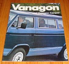 Original 1983 VW Volkswagen Vanagon Van & Camper Sales Brochure GL L Diesel