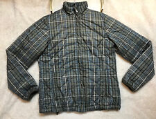 Lands End Puffer Quilted Coat Jacket Size S 6-8 Plaid Gray Full Zip Women's