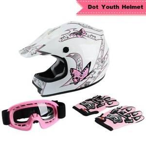 TCMT DOT Youth Kid Pink Butterfly Dirt Bike ATV Motocross Helmet Goggles Gloves