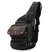 Men's Canvas Travel Hiking Riding Shoulder Cross Body Back pack Sling Chest Bag
