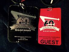 In N Out Burger 60th Anniversary VIP Dinner Badges With Lanyard And Guest Pass