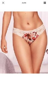 bnwt MARKS & SPENCER ROSIE FOR AUTOGRAPH SILK & LACE FLORAL THONG KNICKERS UK 26