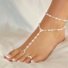2016 Ladies Barefoot Sandals Imitation Pearl Feet Ankle Bracelet Women Fashion