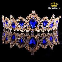 Deartiara Crystal Gem Gold Princess Tiara Wedding Bridal Crown Headbands