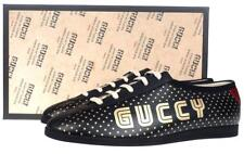 """NEW GUCCI MEN'S CURRENT """"GUCCY"""" STARS BLACK LEATHER FALACER SNEAKERS SHOES 7 G"""