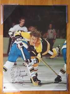 1975 BOB PLAGER signed Poster BOBBY ORR Flying through Air BOSTON BRUINS Blues