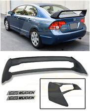 For 06-11 Civic Sedan Mugen RR Rear Trunk Lid Wing Spoiler W/ Black Emblems Pair