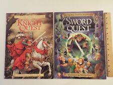 2 Pb-lot-Usborne Fantasy Adventure:King Arthur's Knight Quest-Sword-Andy Dixon