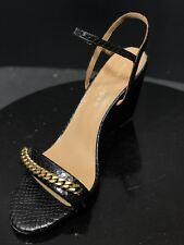 0375fce4edf New KURT GEIGER London Black Gold Leather Ankle Strap Wedges Sandal Size US  9.5