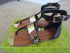 Gianni Bini Fancy Flat Strappy Calf Hair Sandals leopard Brown/Black/Gold 6.5