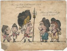Original 1799 English Ink and Watercolor Cartoon Drawing of Army Recruiter