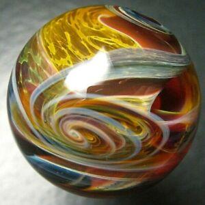 "Boomwire - 1.25"" Glass marble - lampwork boro handmade contemporary art orb gift"
