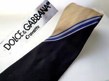 DOLCE & GABBANA TIE Black Gold SILK Blue Silver STRIPES Made ITALY W3.75 x L59