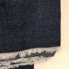 "Vintage 60s 70s Denim Fabric Cotton Yardage Dark Blue Old Stock 66"" x 60"""