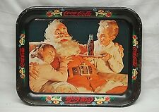Old Vintage Rustic 1981 Coca Cola Coke Litho Tin Metal Serving Tray Santa Claus