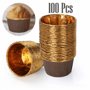 100Pcs Gold Cupcake Liners Mini Muffin Liners Wrappers Foil Paper Baking Cups