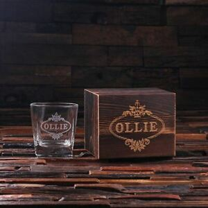 Personalised Whisky Scotch Glass Set with Wooden Gift Box for Whisky Lovers