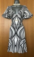 Karen Millen UK 10 Black White Print Jersey V Neck Kimono Sleeves Casual Dress