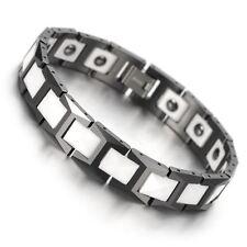 CERAMIC Tungsten Carbide Black & White Strong Magnetic Bio Energy Bracelet