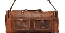 "30"" Men's Brown Vintage Genuine Leather Cowhide Travel Luggage Duffle Gym Bags"