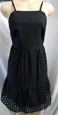 """ANN TAYLOR LOFT"" BLACK EYELET CASUAL CAREER COCKTAIL TIERED DRESS SIZE: 0P NWT"