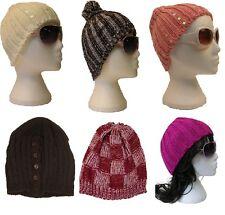 JOB LOT WHOLESALE 12 BRAND NEW LADIES KNITTED BEANIE WINTER HATS (J)