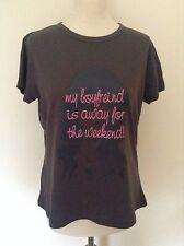 Wmns/Ladies Papaya 'my boyfriend is away for the weekend!' T Shirt - XL GREY NEW