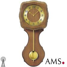 Ams 41 Wall Clock Radio Controlled Pendulum Wood oak Living Room 588