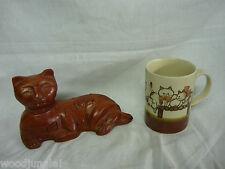 MID CENTURY DANISH MODERN TEAK WOOD CAT FIGURINE PUZZLE OTAGIRI COFFEE MUG CUP