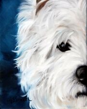 Westie West Highland Terrier PRINT dog portrait painting by Mary Sparrow